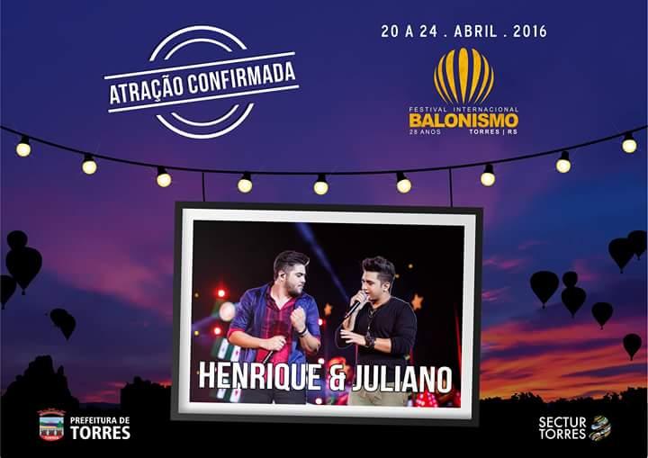Henrique e Juliano é atração musical confirmada no Festival de Balonismo de Torres
